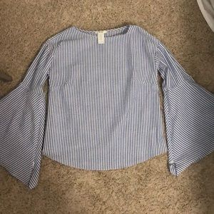 Blue and white striped top with bell sleeves